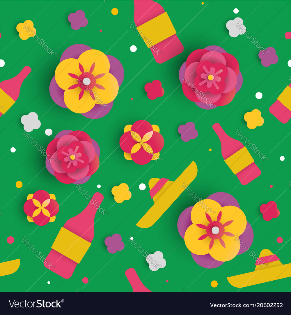 Cinco De Mayo Paper Art Flower Seamless Pattern Vector Image