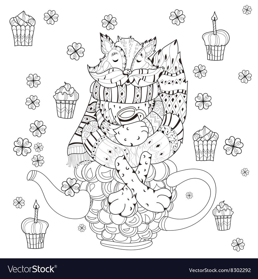 Cute fairy girl in flowers doodle