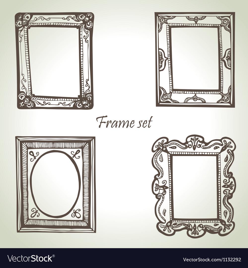 Frame set hand drawn vector image