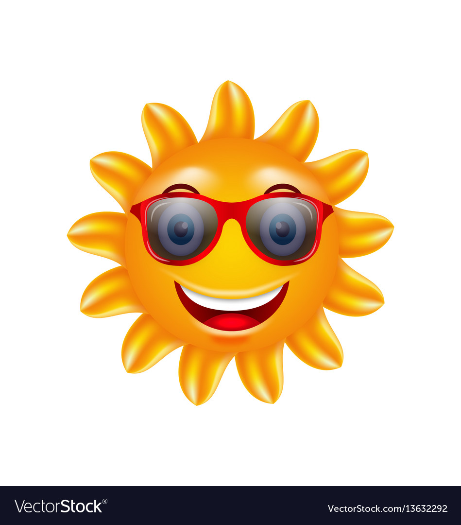 Funny face summer sun with sunglasses