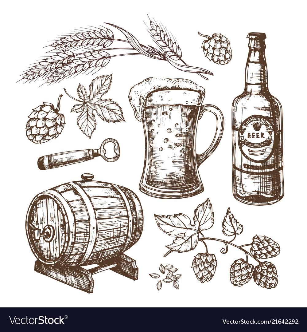 Hand drawn beer mug barrel wheat and malts ears