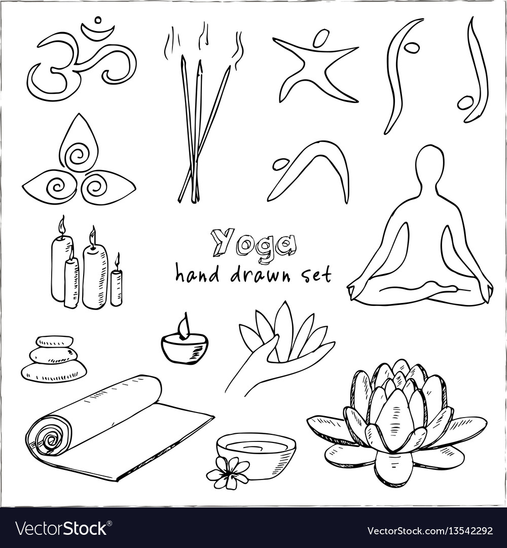 Hand drawn doodle yoga symbols icons and asanas