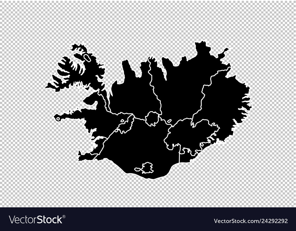 Iceland map - high detailed black map with