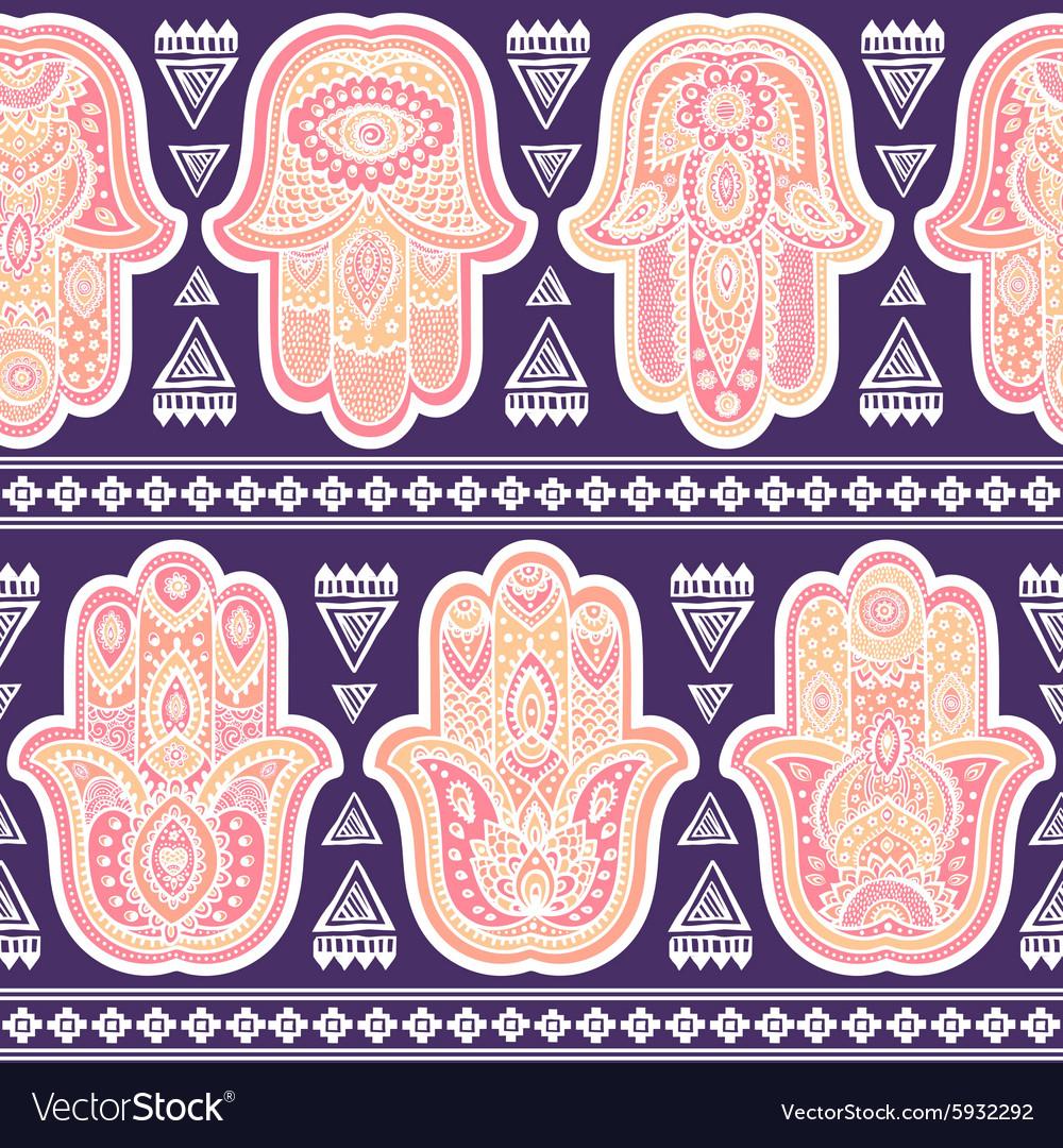 Indian hand drawn hamsa seamless pattern
