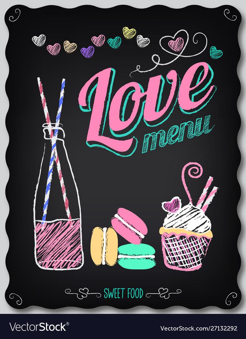 Love menu on chalkboard