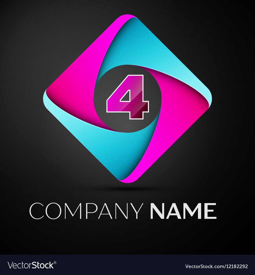 Number four logo symbol in the colorful rhombus