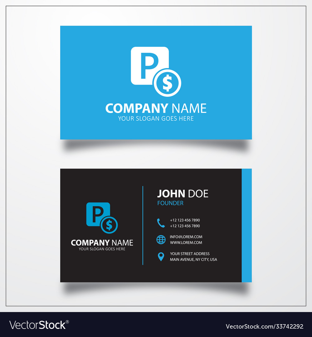 Paid parking icon business card template