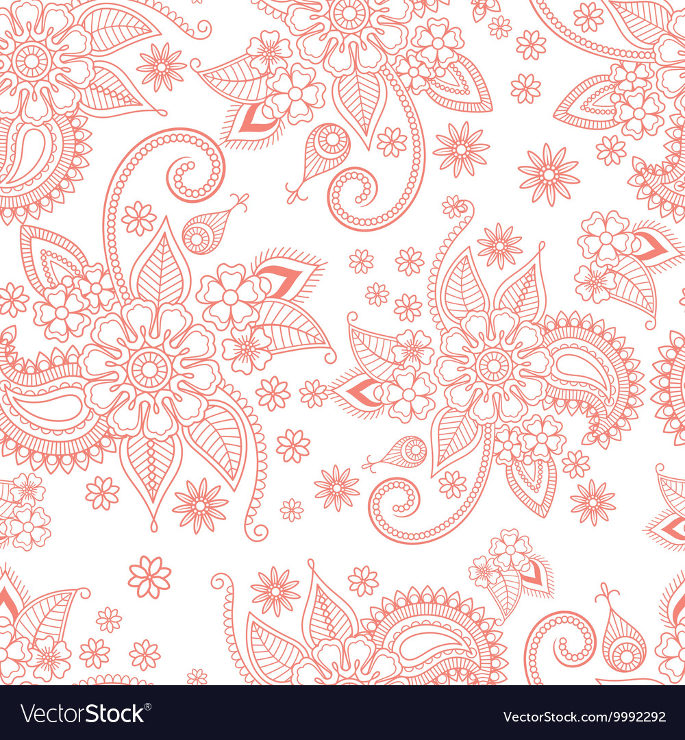 Pink floral ornate pattern on white background