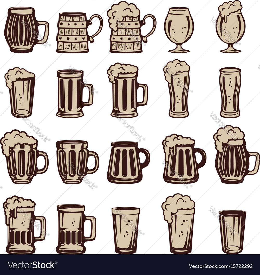 Set of beer mugs and glasses design elements for
