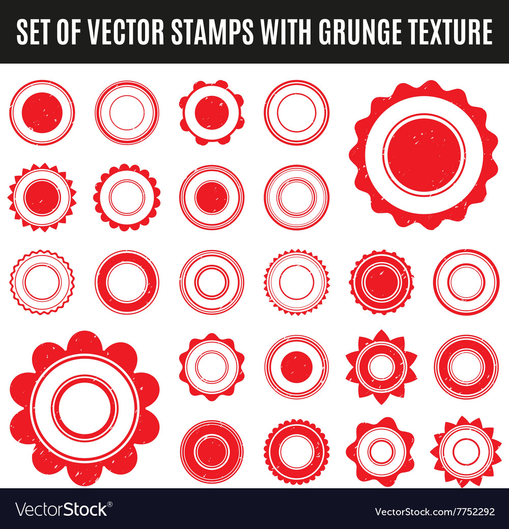 Set of red grunge stamp Round shapes