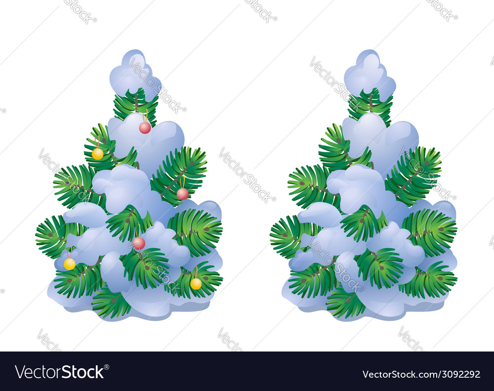 Snow covered Christmas tree vector image
