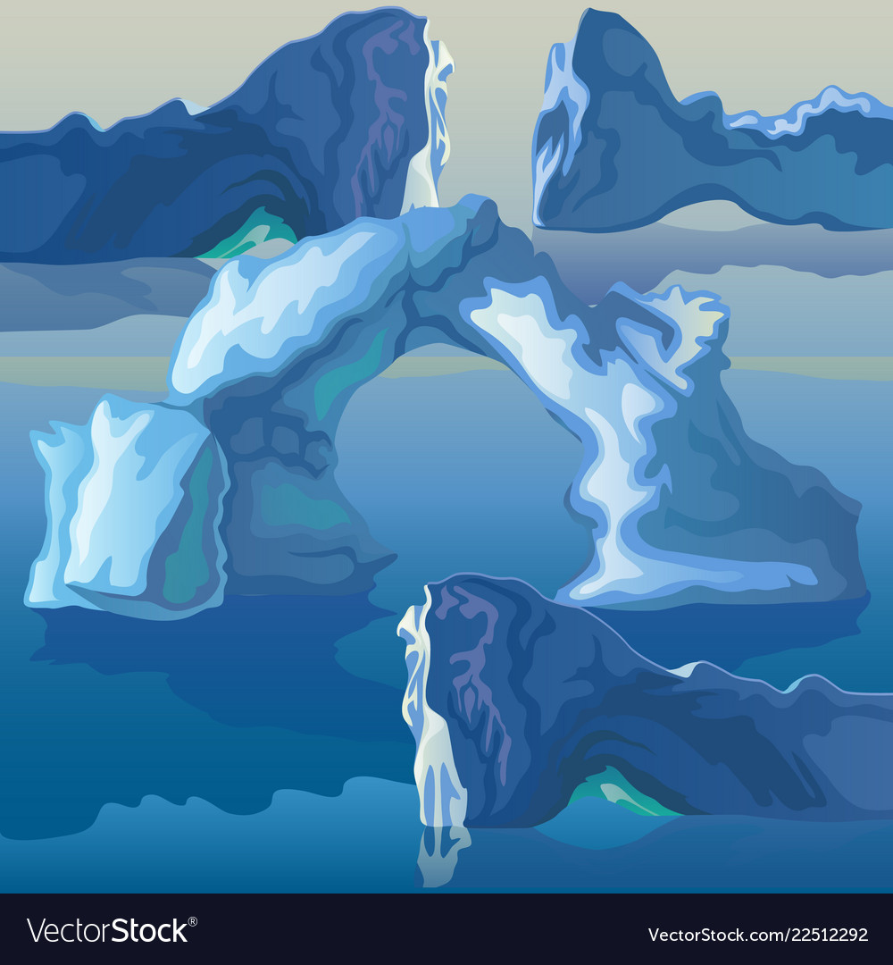 The composition of the sea of icebergs and ice