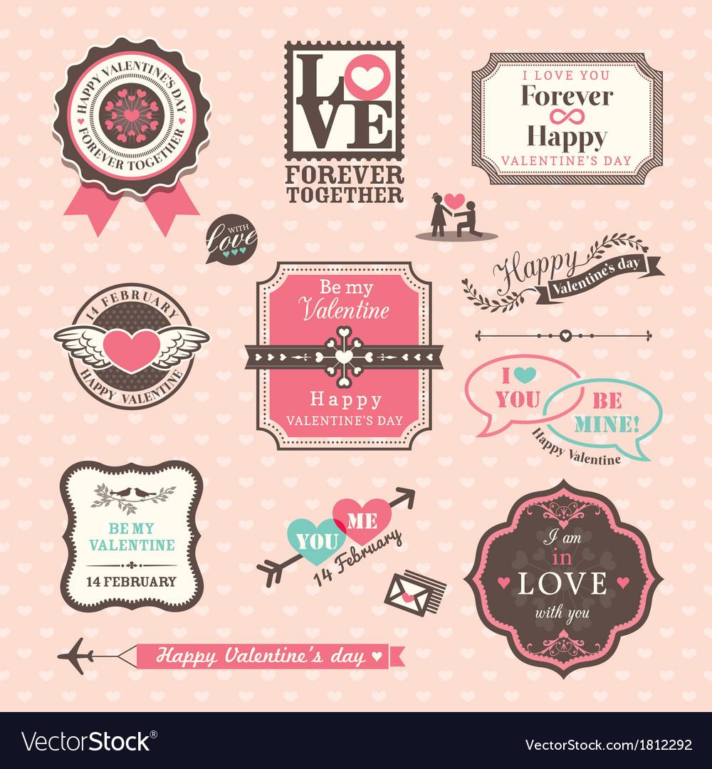 Valentines day Elements labels and frames Vintage