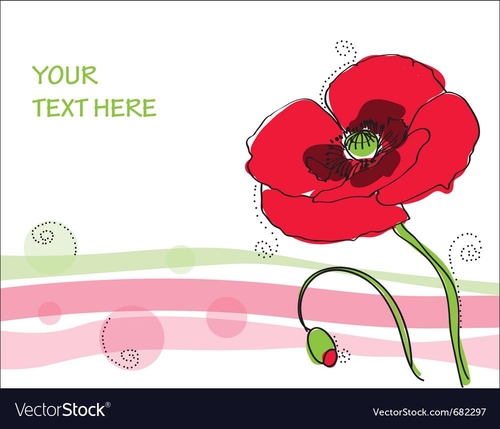 Beautiful Poppy Flower Royalty Free Vector Image