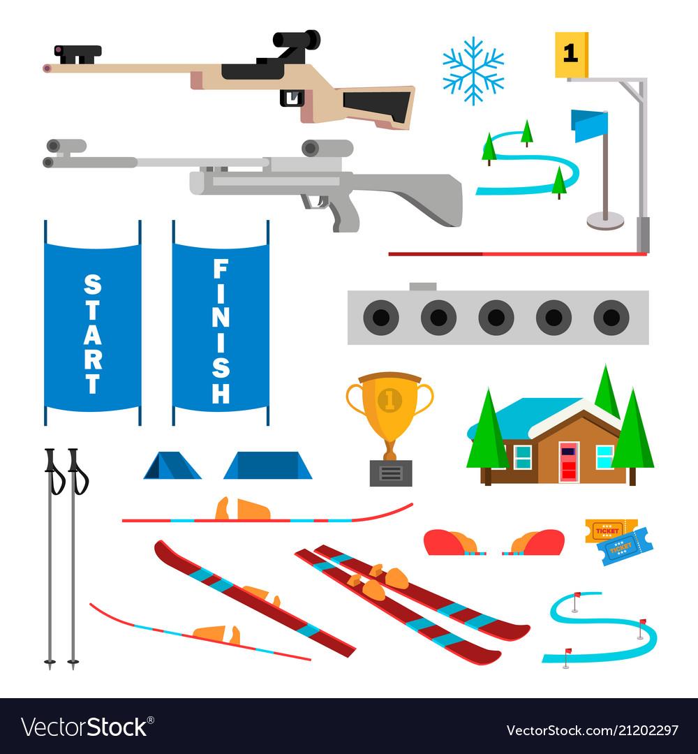 Biathlon icons set biathlon accessories