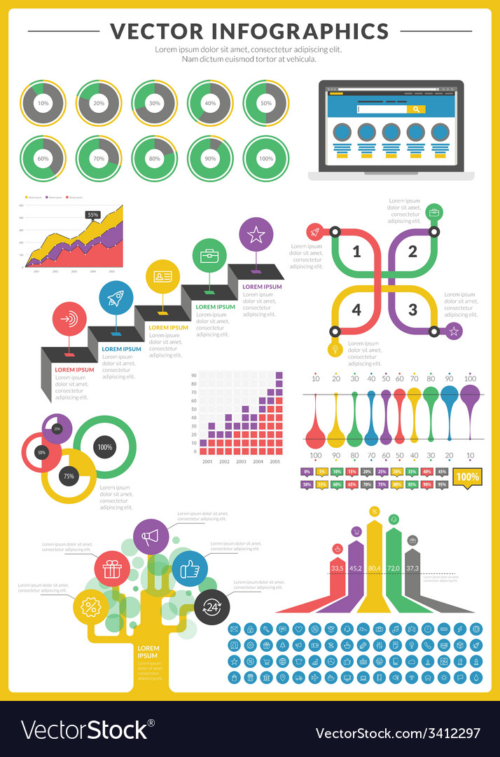 Big pack of data visualization infographics and