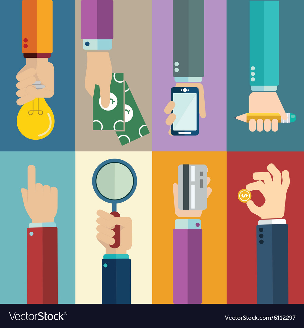 Business concepts in flat style - hands icons