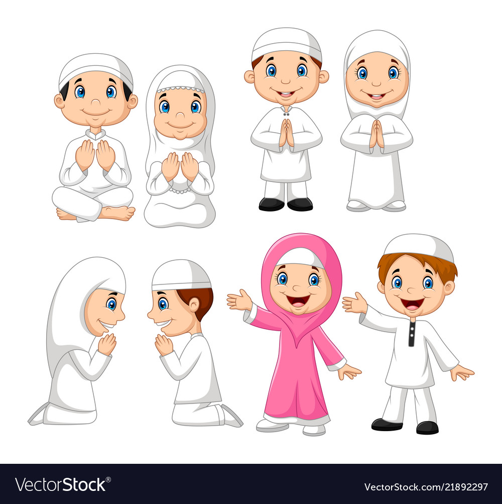 Cartoon muslim kid collection set
