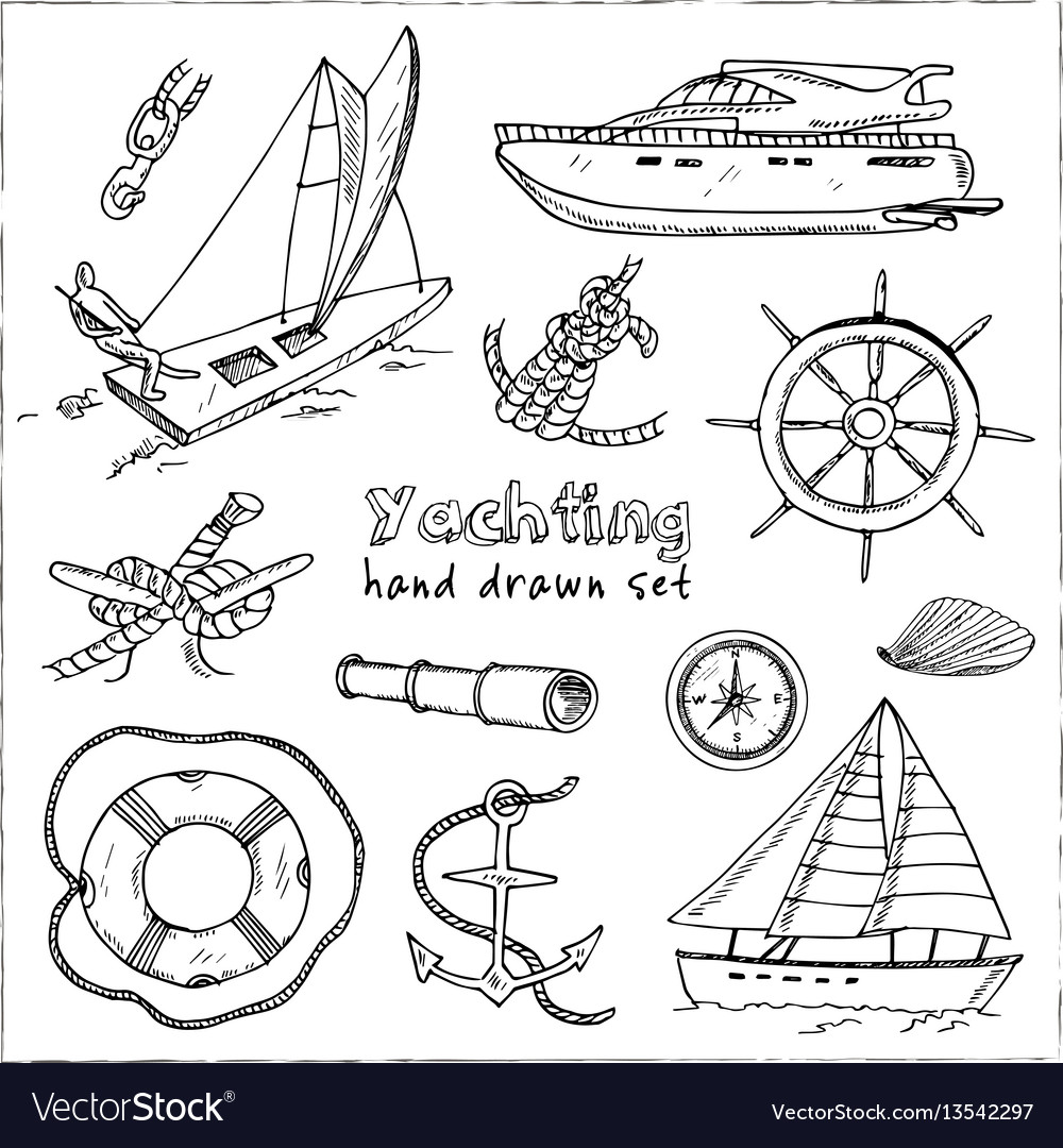 Collection of yachting doodle icons