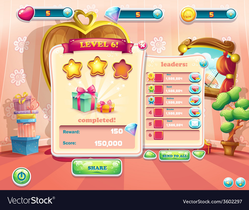 Example of the user interface of a computer game