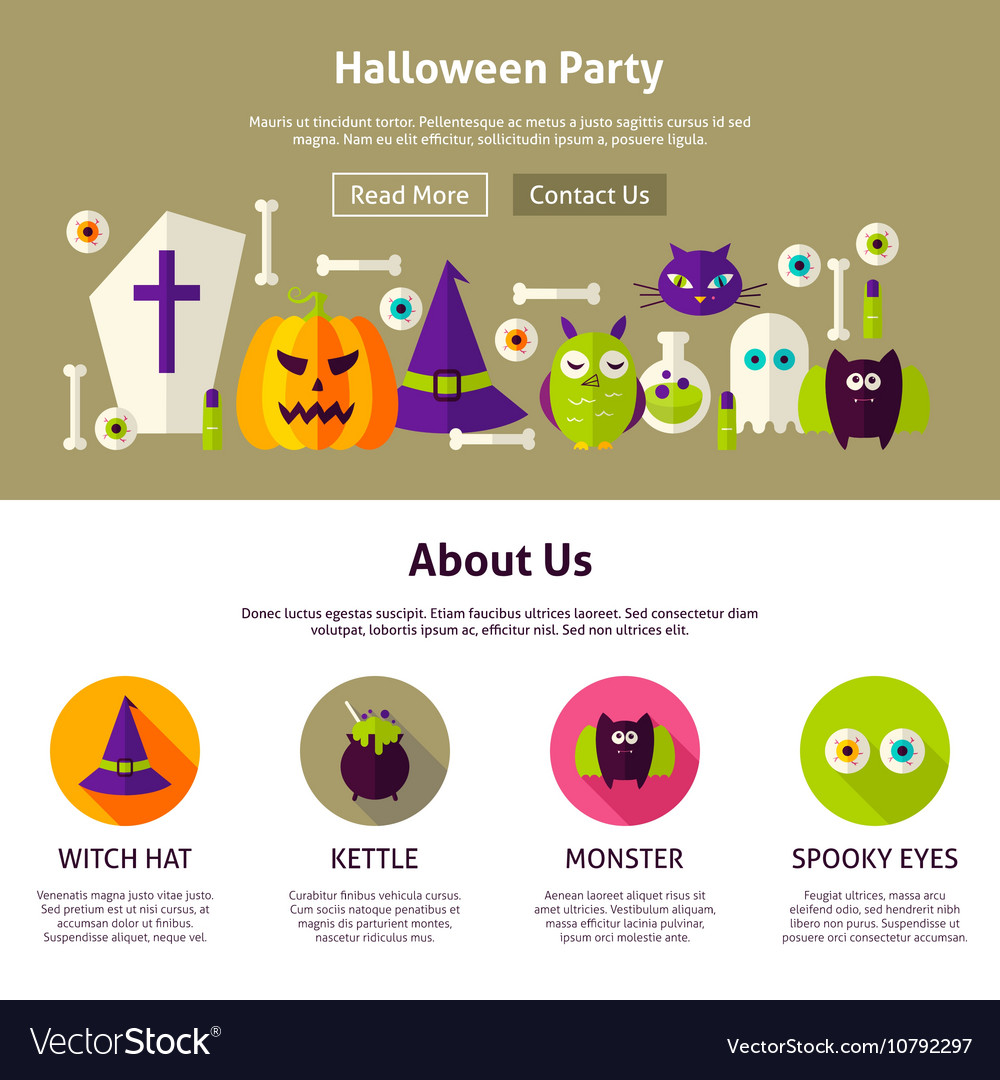 halloween party web design template royalty free vector