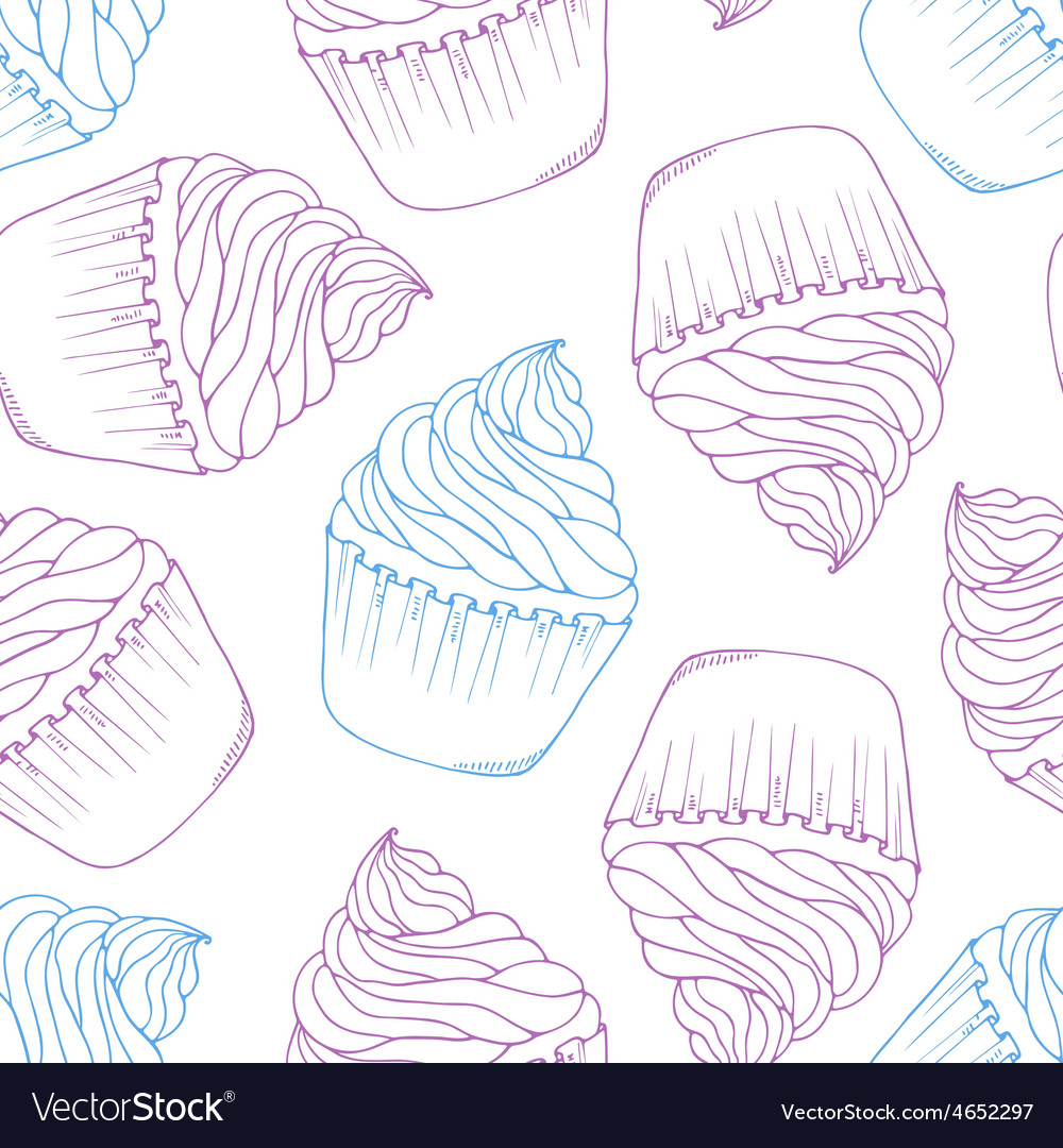 Hand drawn cupcake seamless pattern Outline doodle vector image