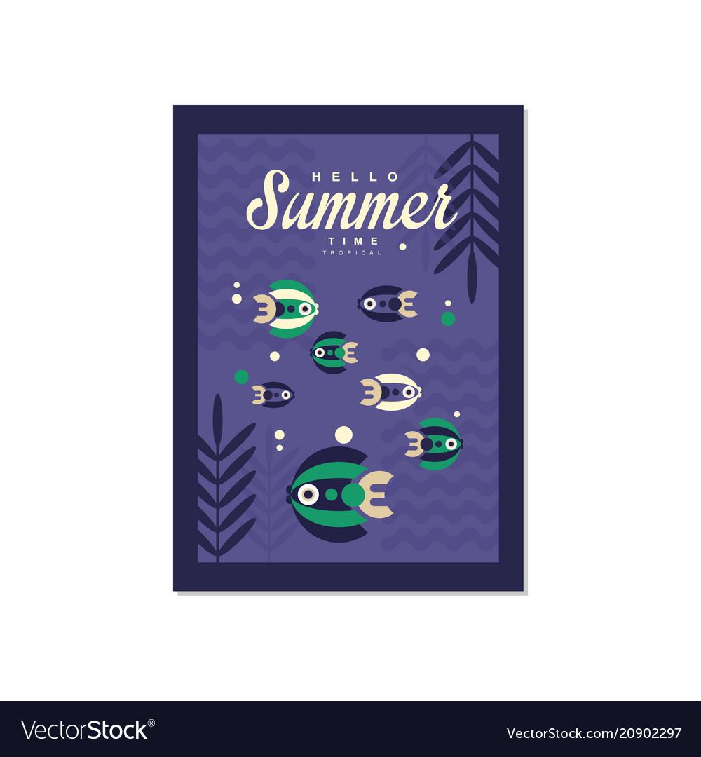 Hello summer time banner template trendy seasonal