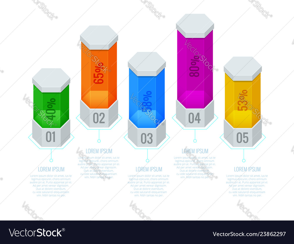 Isometric abstract infographic template with a