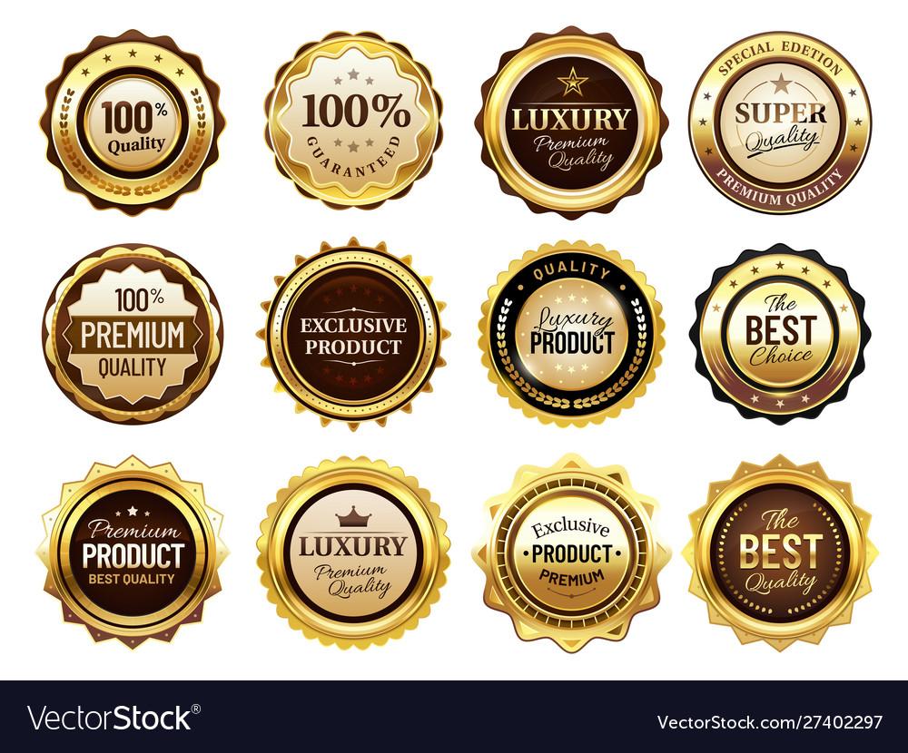 Luxury golden badges premium quality stamp gold