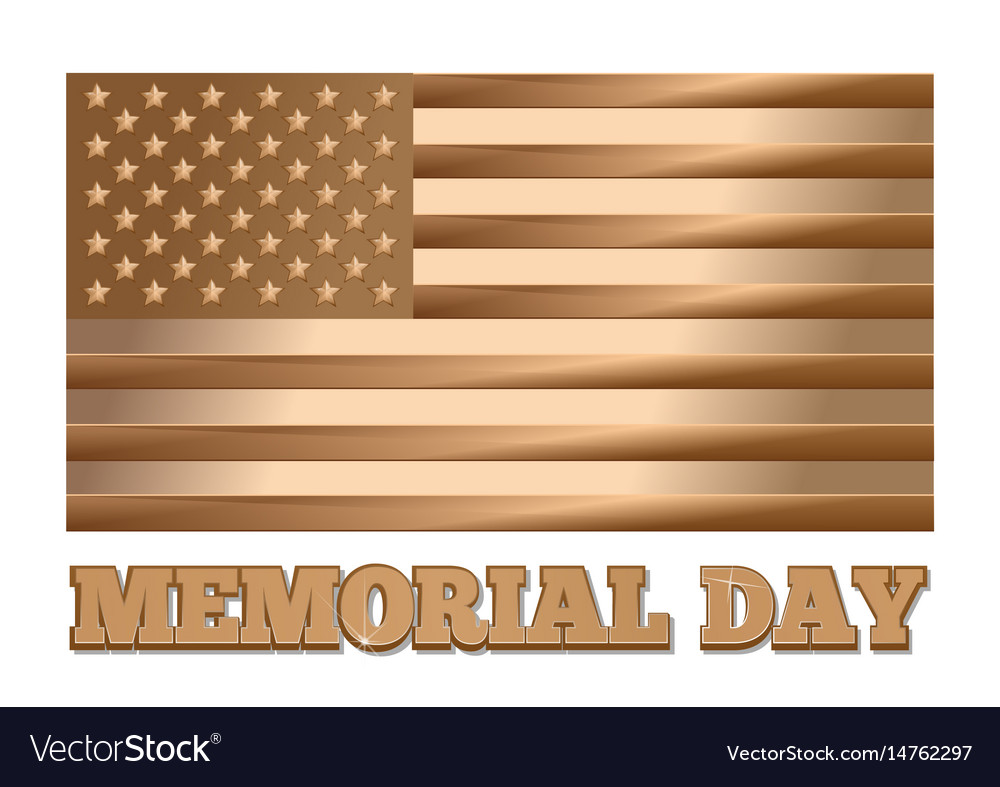 Memorial day gold united states of america flag