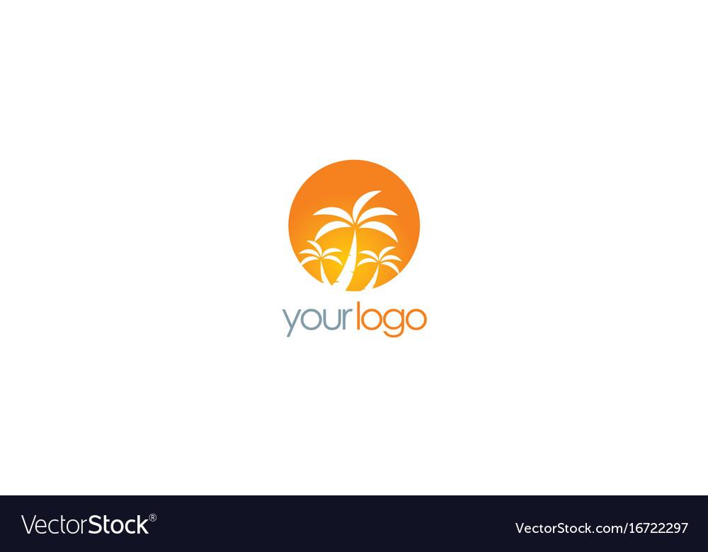 Palm tree tropic plant logo