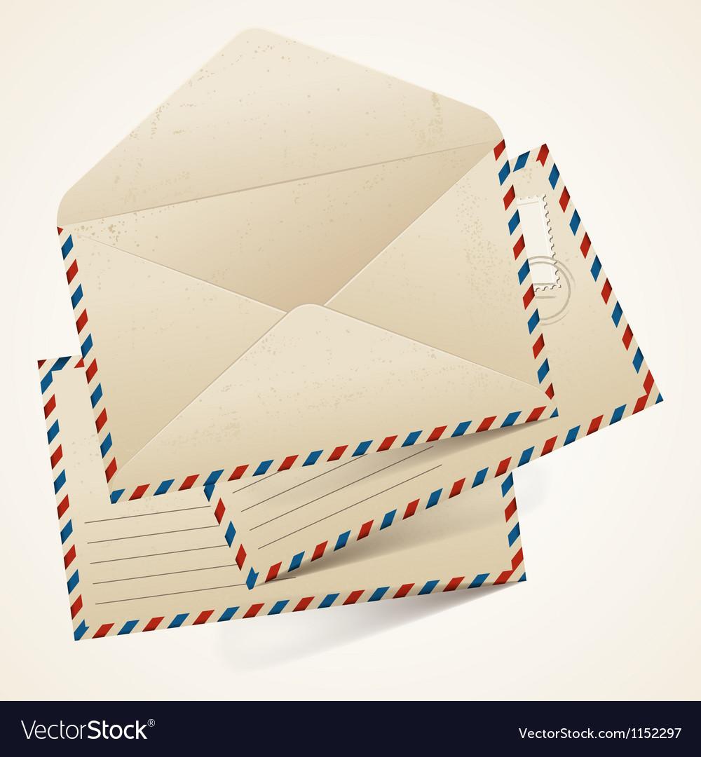 Stack of old vintage envelopes vector image