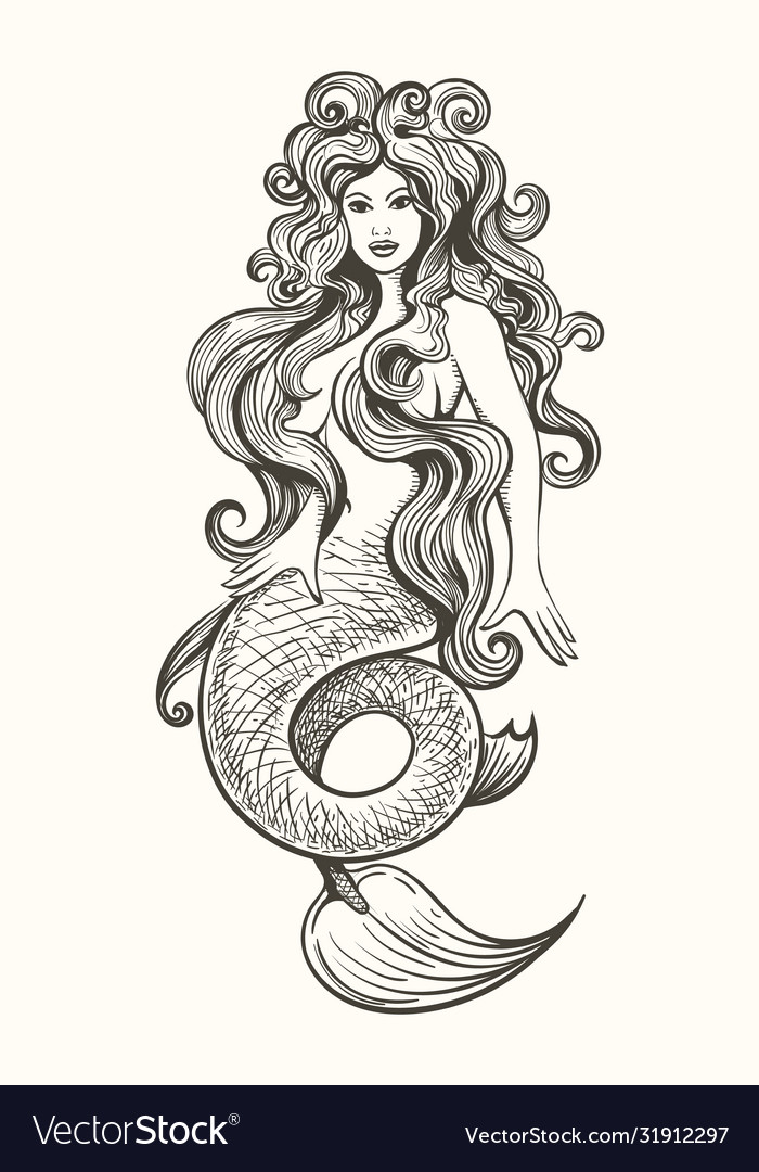 Tattoo mermaid in vintage style