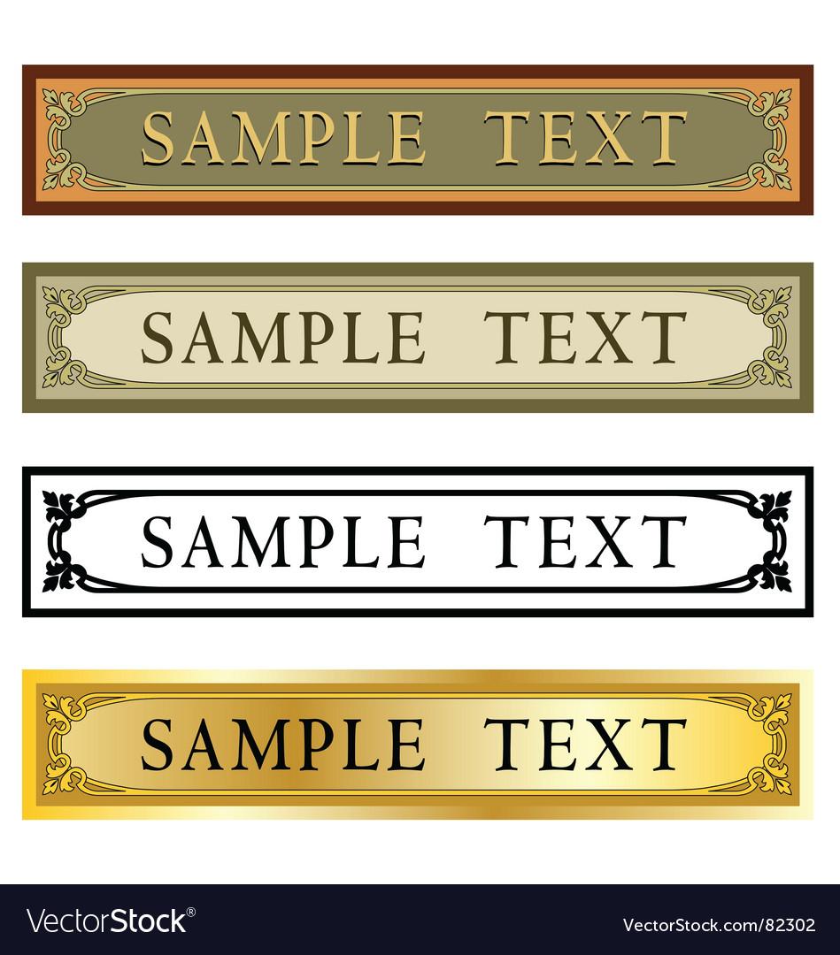 Art Nouveau nameplate vector image