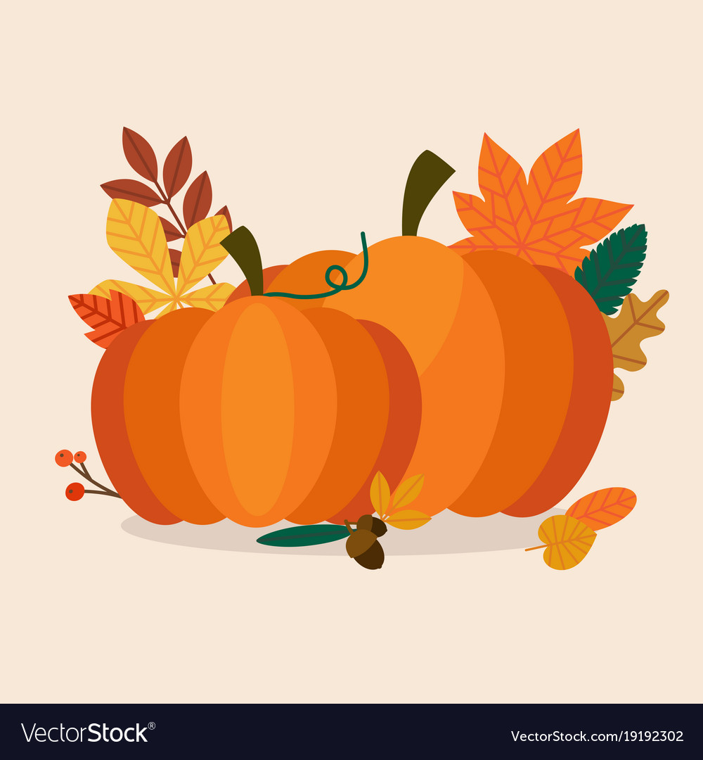 Autumn pumpkins and leaves flat design modern