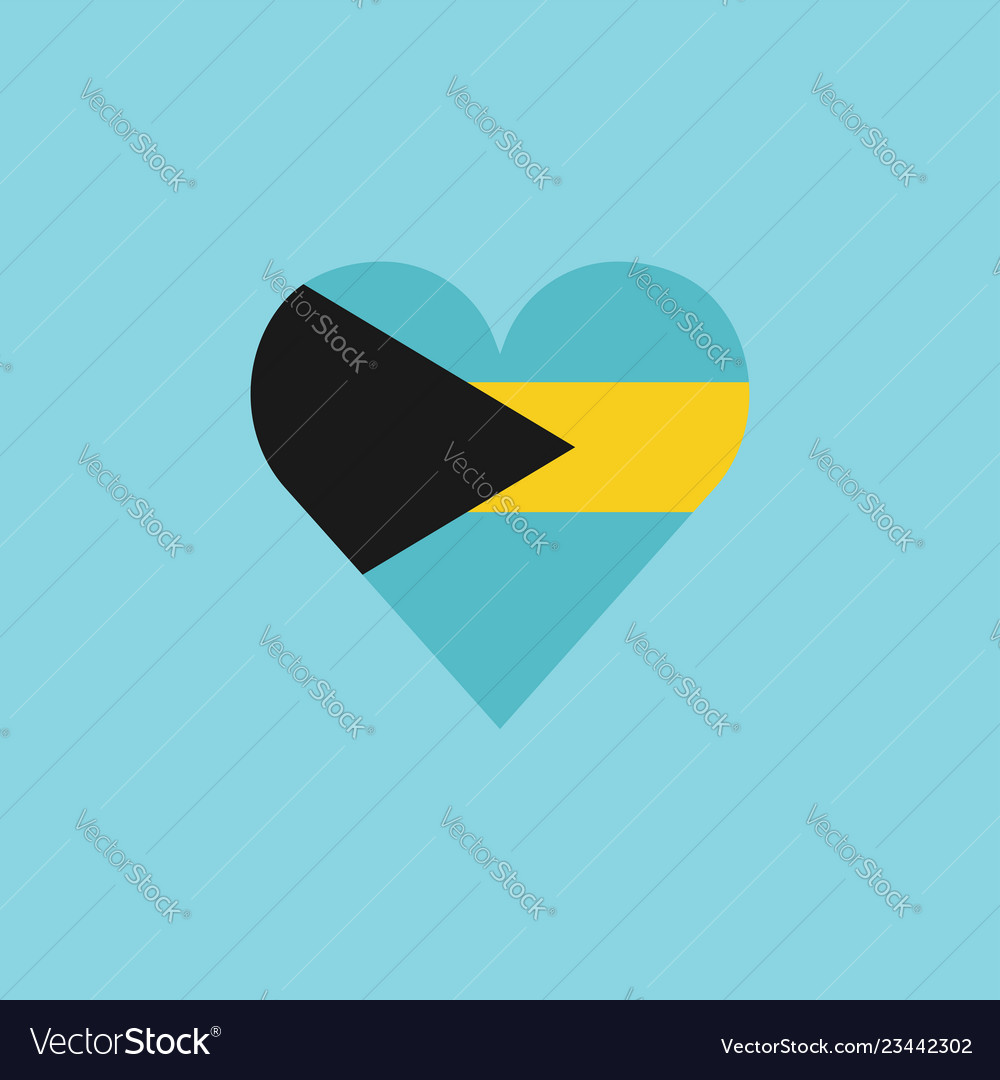 Bahamas flag icon in a heart shape in flat design
