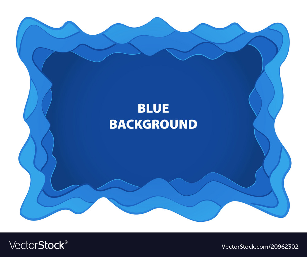 Blue abstract background with paper cut shapes