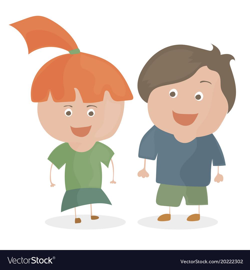Boy and girl funny cartoon and teen