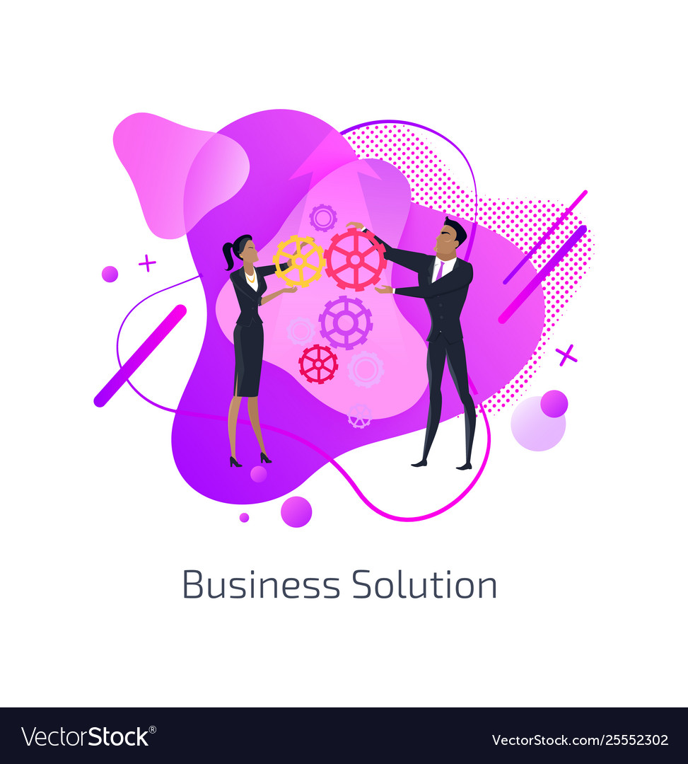Business solution man and woman teamwork gears