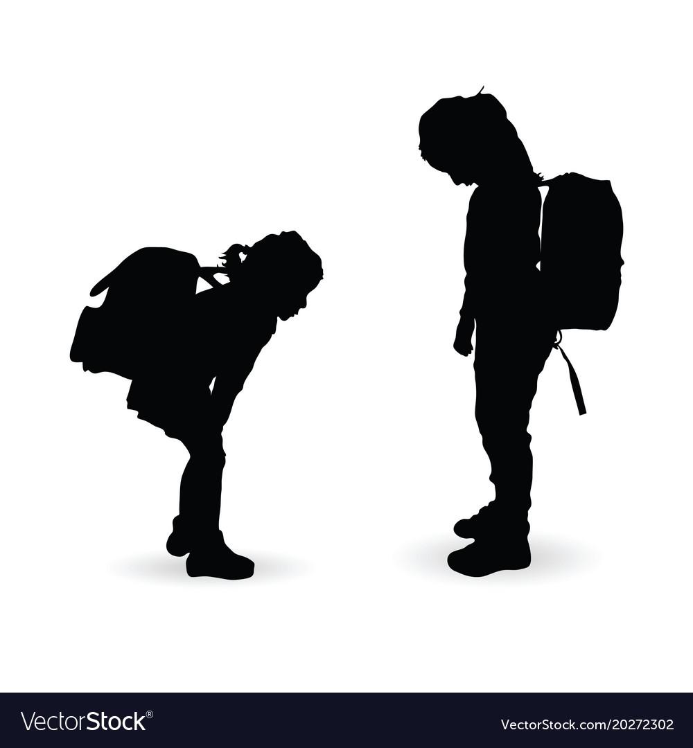 Children silhouette with school bag