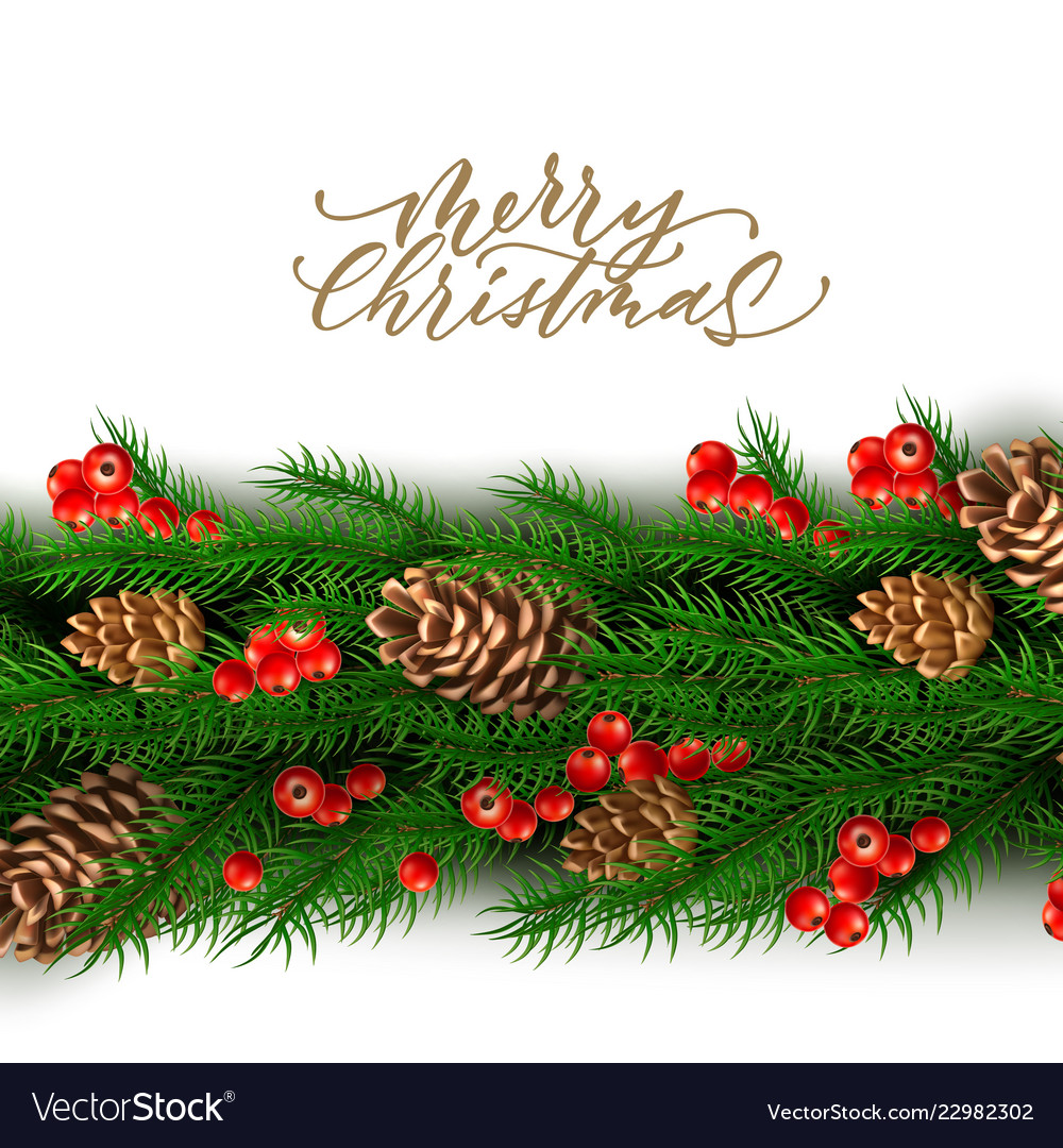 Christmas border with berry pine cone