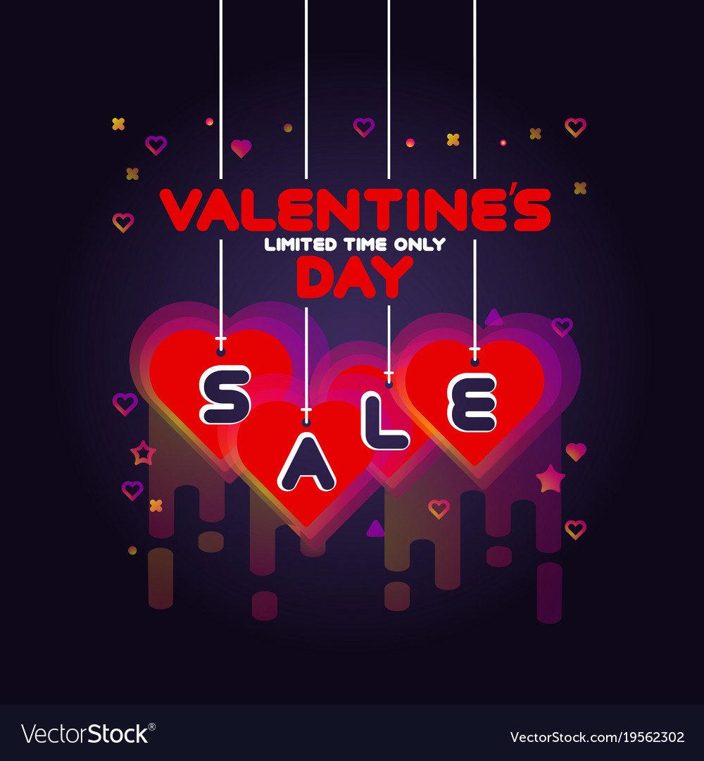 Colorful valentines day sale poster
