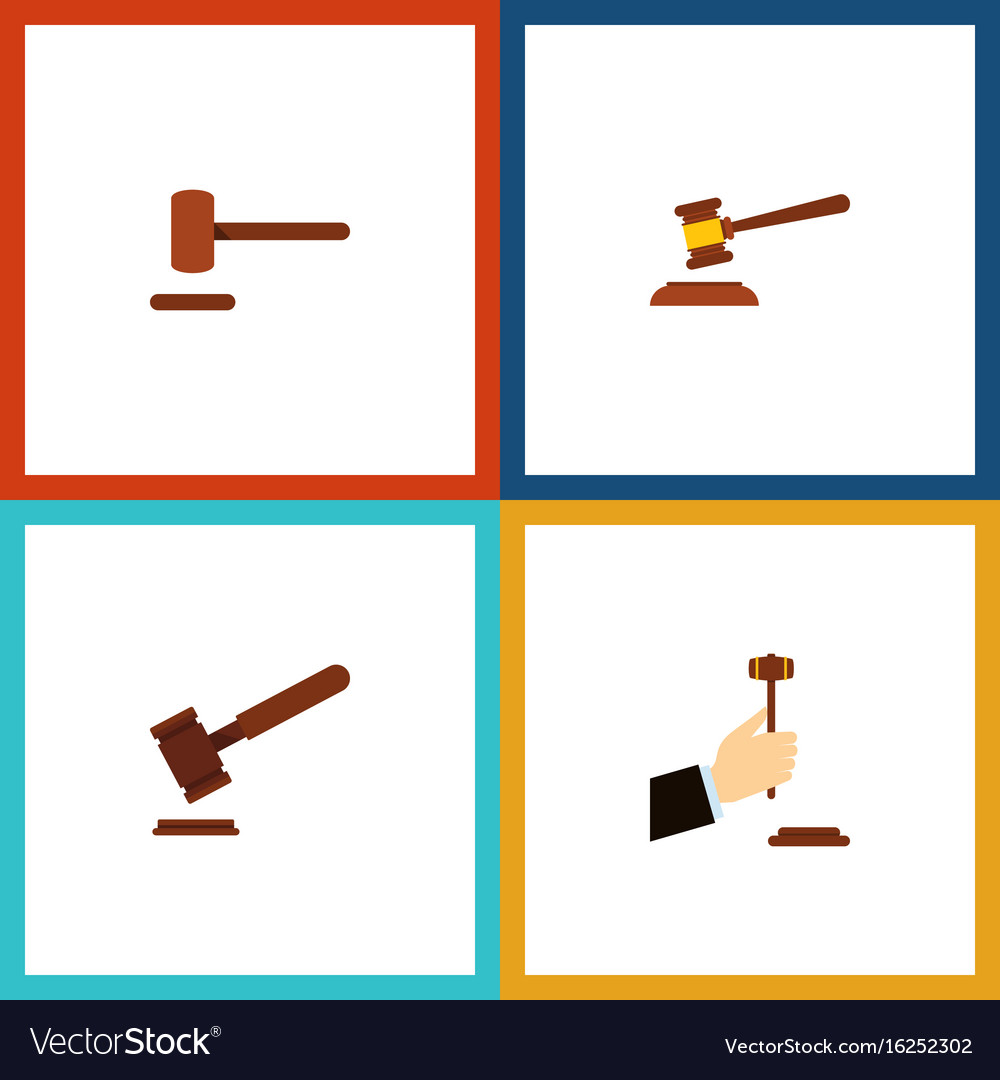 Flat icon lawyer set of justice defense law and