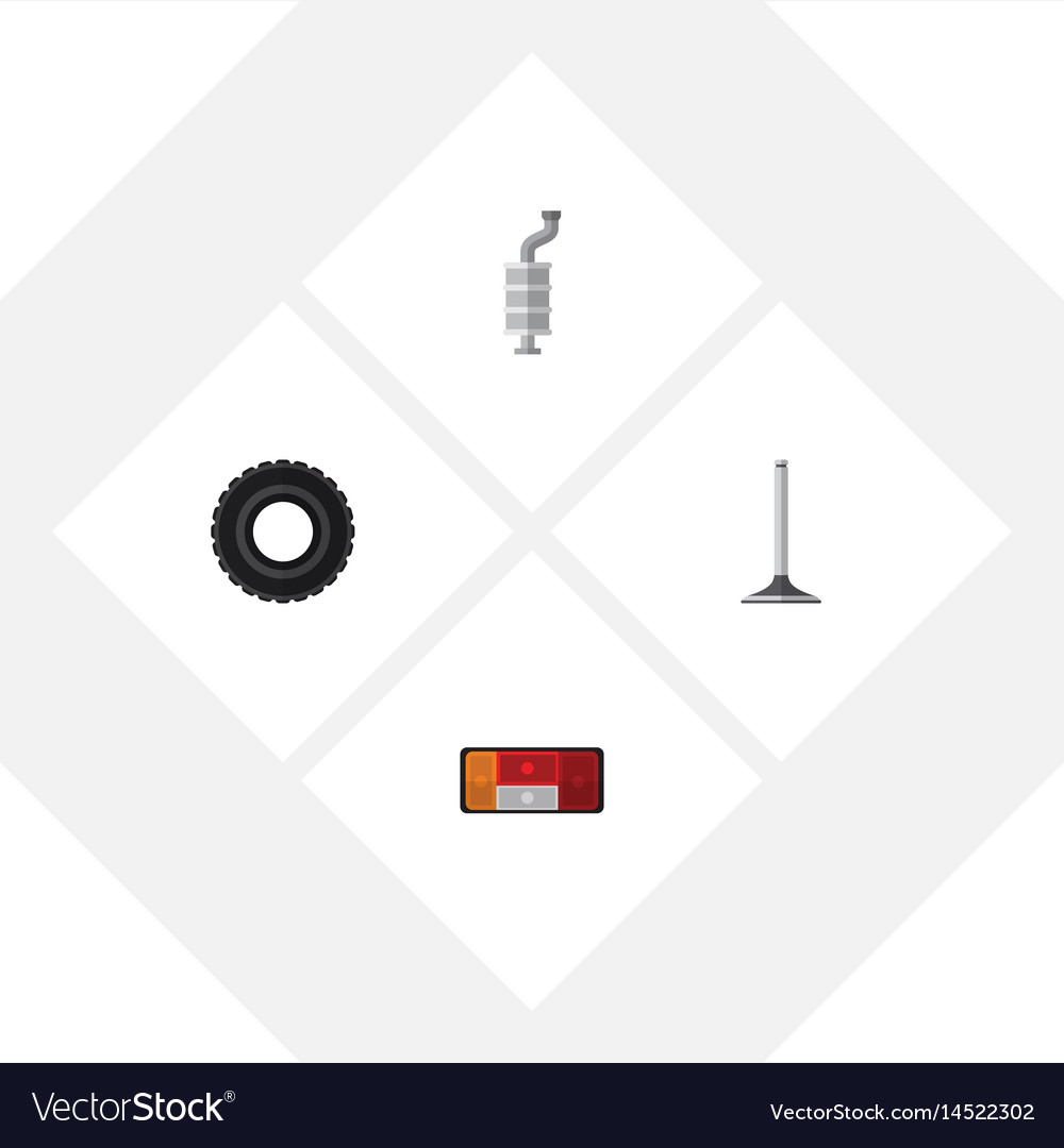 Flat parts set of headlight car segment wheel vector image