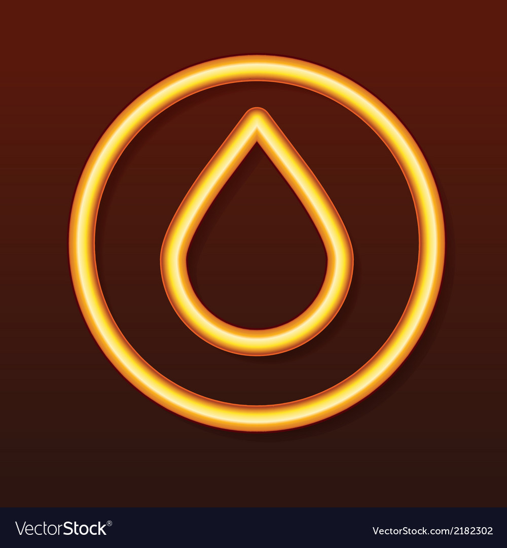 Glowing golden icon Drop in a circle