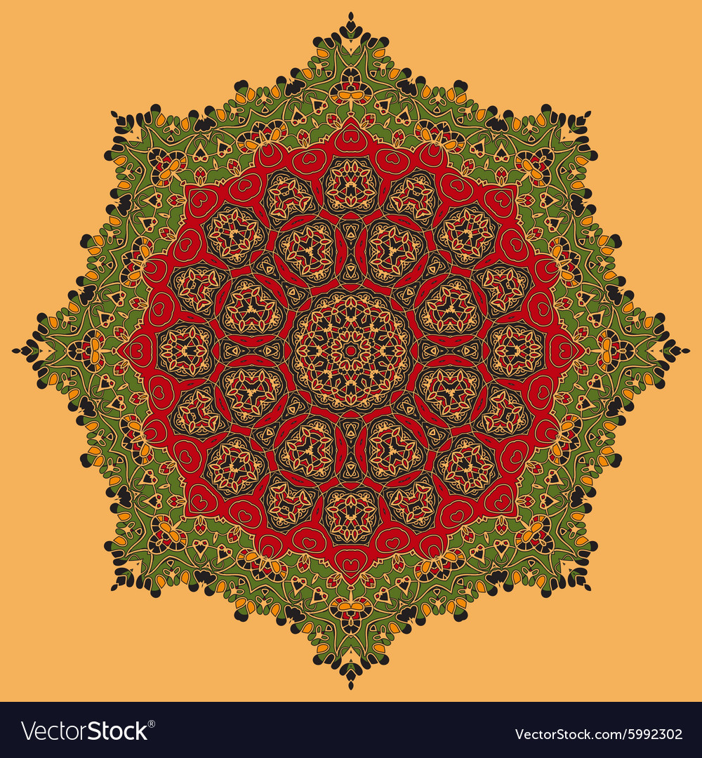 Green and Red Oriental Mandala