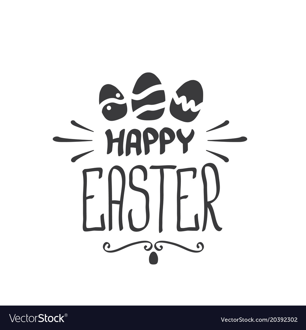 Happy easter text lettering isolated on white