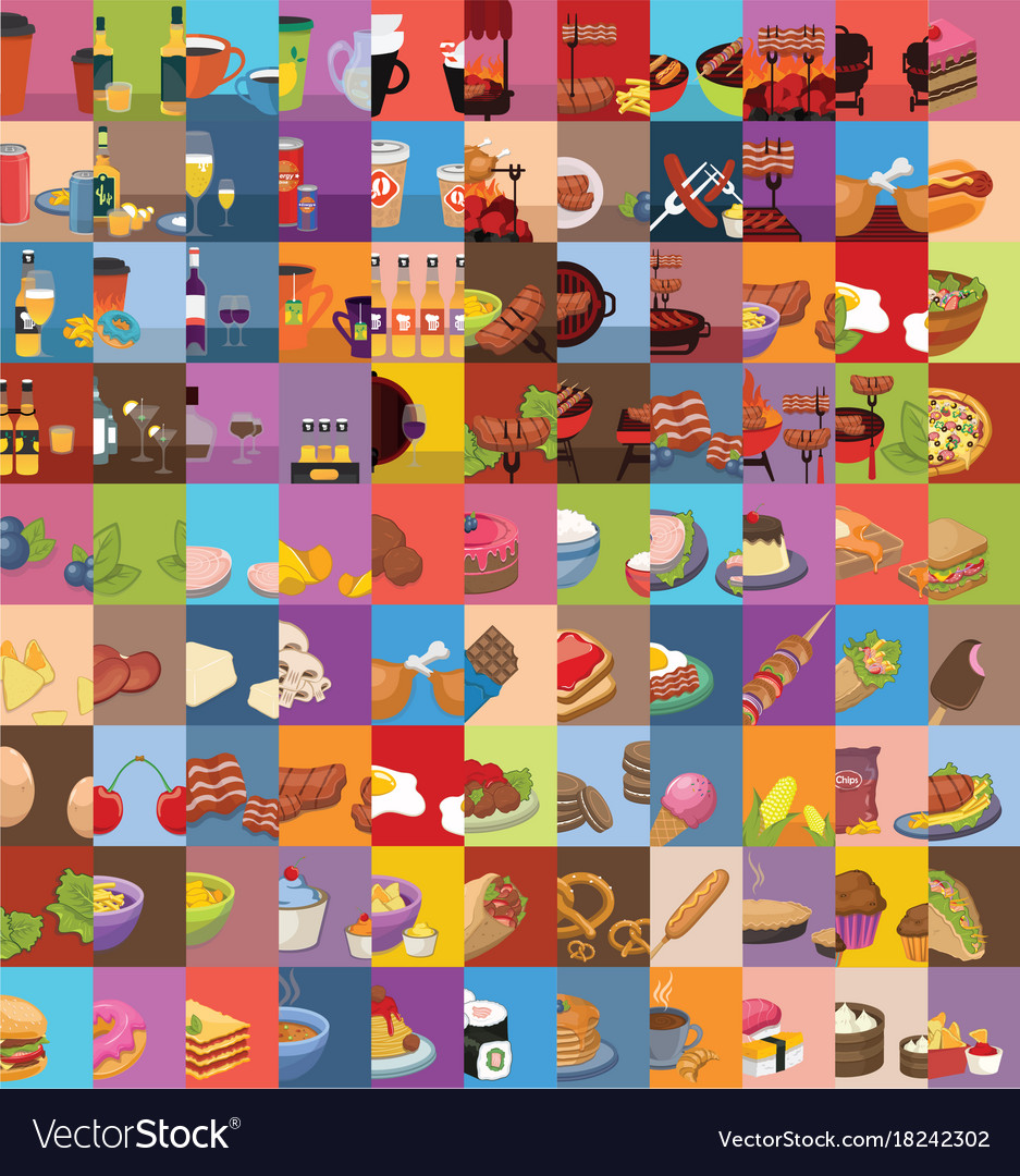 Large set of food icons