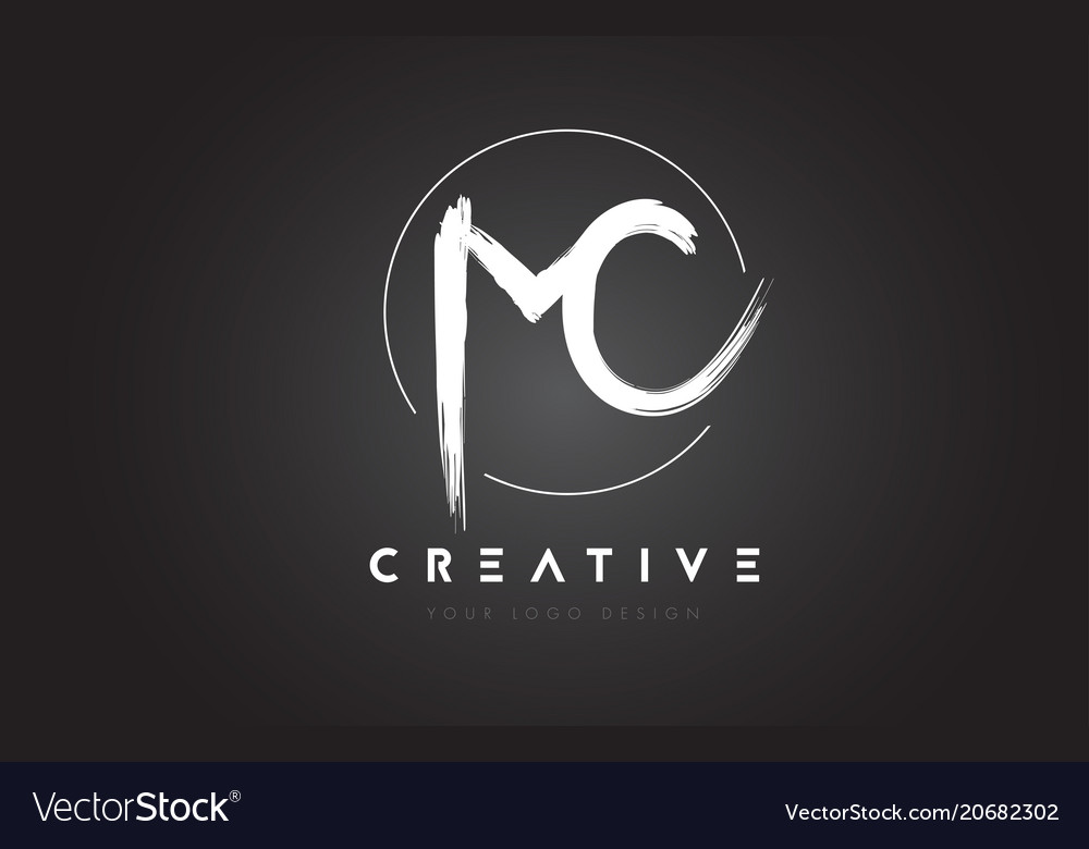 Mc brush letter logo design artistic handwritten
