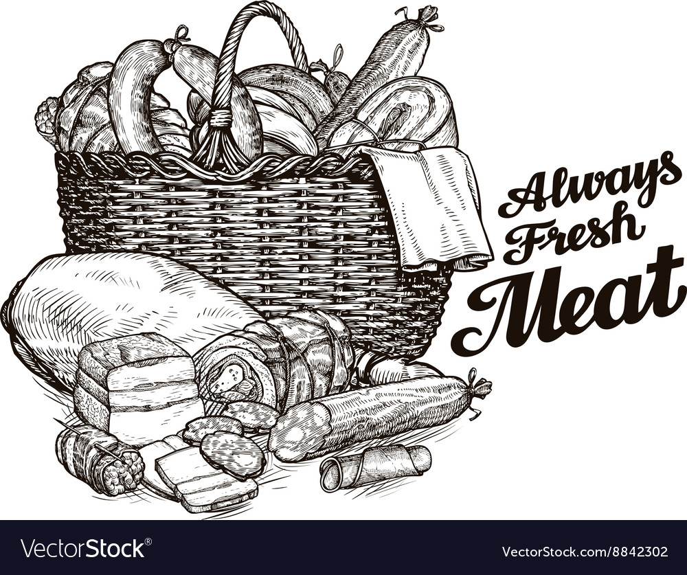 Meat products hand drawn sketches of food